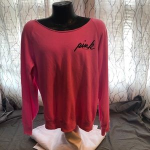 PINK wide neck sweat shirt Hot Pink